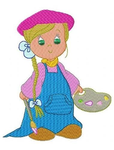 menina ocupação - coleção de matriz de bordado