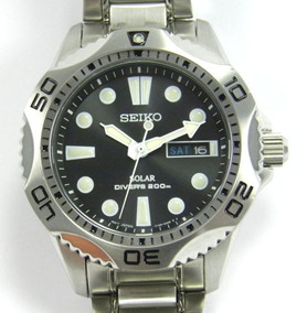 Men's Seiko Solar Diver's Day Watch 200m - Stainless Steel B