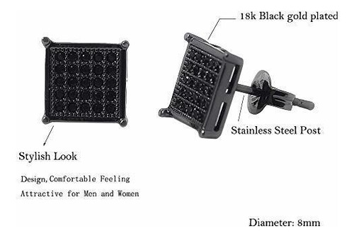 mens square pendientes black stud diamond crystal big 316l a