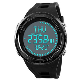 Mens World Time Compass Watches Waterproof Digital Outdoor S