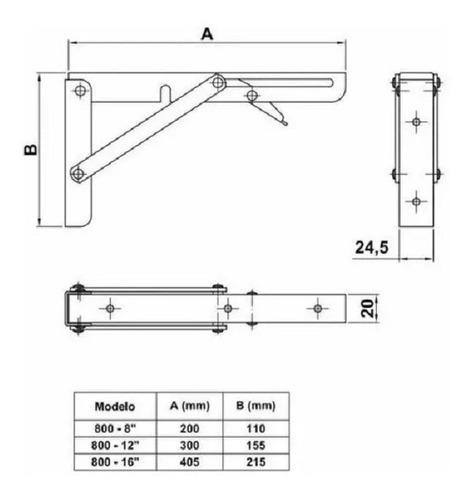 mensula rebatible con gatillo, 300 mm, para 50 kgs. por par