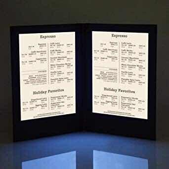 menú luminoso, elegante  porta menú con luz led.