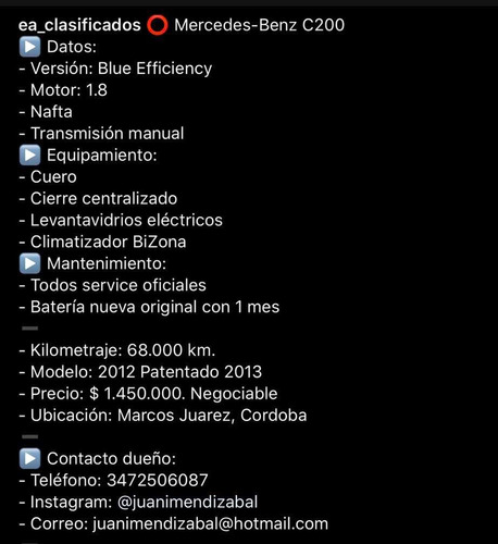 mercedes-benz clase c a13-c200 blue effici