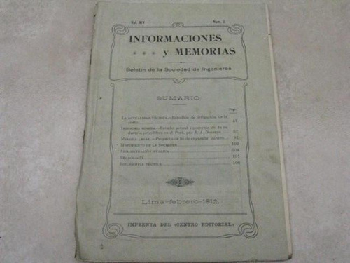 mercurio peruano: antiguo boletin ingenieria 2-1912 l25