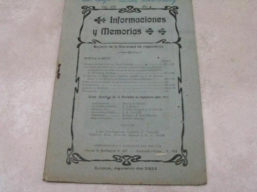 mercurio peruano: antiguo boletin ingenieria 8-1911 l25