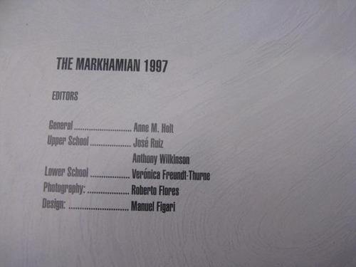 mercurio peruano: libro anuario markham college 1997 l36