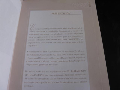 mercurio peruano: libro conociendo el congreso del peru l41