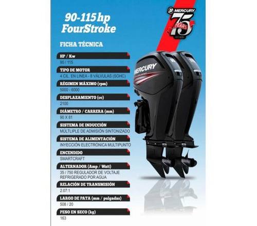mercury 115 hp 4  tiempos 2100 cm cubicos entrega inmediata