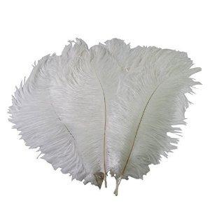 mersuii 50 pcs decoración avestruz plumas 10-15cm (blanco)