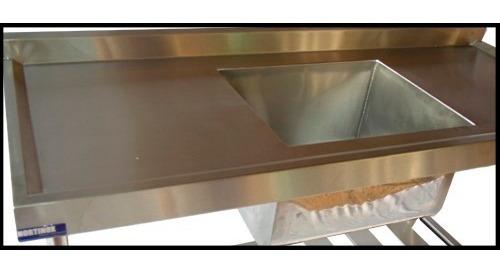 mesa 01 cuba 50x40x30 em inox de 180 cm x 60 cm x 90 cm