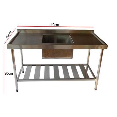 mesa 01 cuba 50x40x30cm em inox de 140x60x90cm bancada