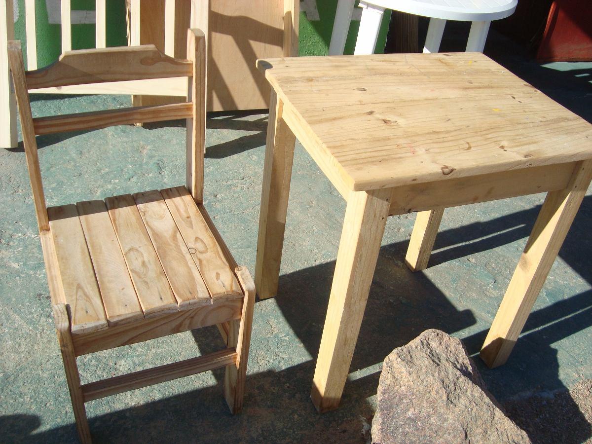 Mesa 060m x 0 55m y 1 silla madera rustica en for Mesas y sillas rusticas