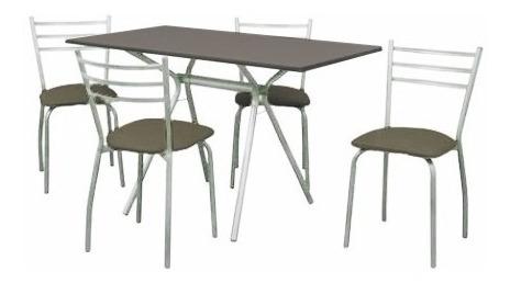 mesa 1,20 x 0,70 melamina mas 4 sillas caño combo kromo-s