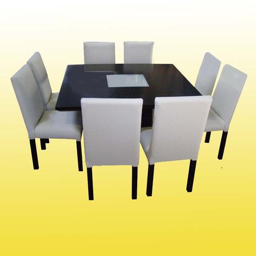 mesa 1,3 x 1,3 wengue mas 8 sillas vestidas
