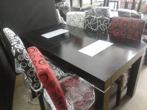 mesa 1,40 a 1,80 o 1,60 extensible a 2,00 con 6 sillas