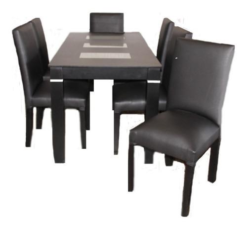 mesa 140 x 80  lustre wengue  + 6 sillas vestidas en cuerina