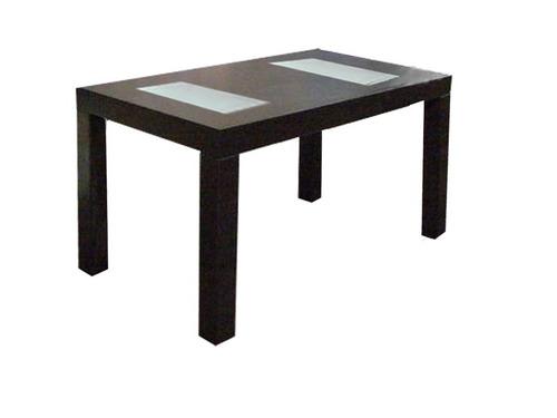 mesa 1,6 x 0,8 wengue + 6 sillas tapizadas en ecocuero