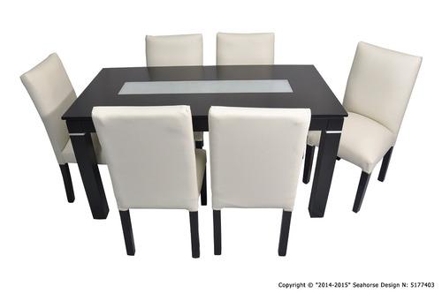 mesa 160x080 guatambu wengue c/ v alarg. + 6 sillas vestidas