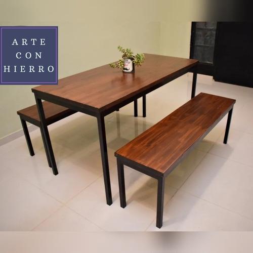 mesa + 2 bancos // muebles estilo industrial