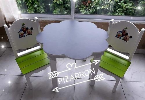 mesa + 2 sillas infantiles paw patrol 6 cuotas sin interés