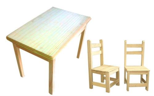 mesa +2 sillas niño madera pino pintar / open-toys avell 5