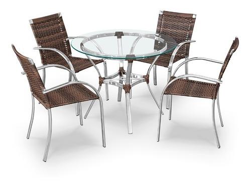 mesa 4 cadeiras alumínio fibra sintética (vidro não incluso)