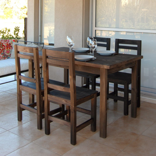 mesa 80x135 + 4 sillas reforzadas + individuales stock hoy
