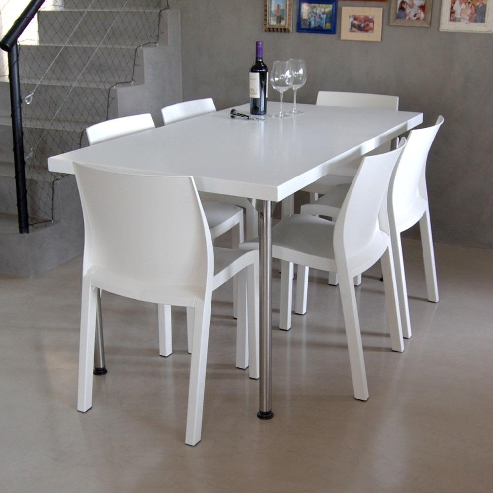 Mesa 80x135 Laqueada Patas Acero Inox + 6 Sillas Plasticas - $ 9.899 ...