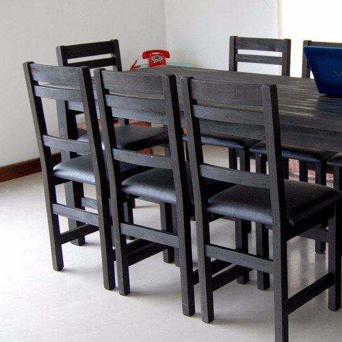 mesa 90x220 + 10 sillas premium tapizadas
