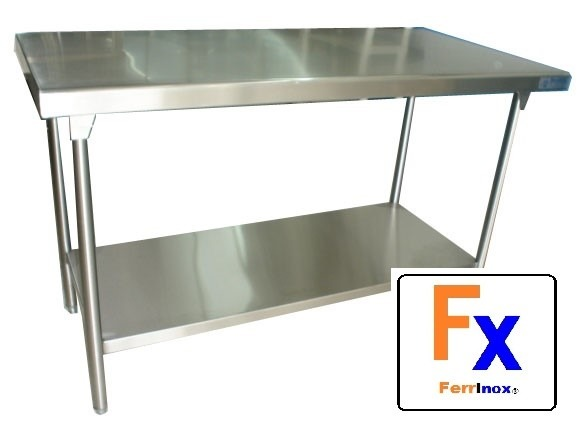 Mesa acero inoxidable en isla 140x60x90 marca ferrinox for Mesa acero inoxidable