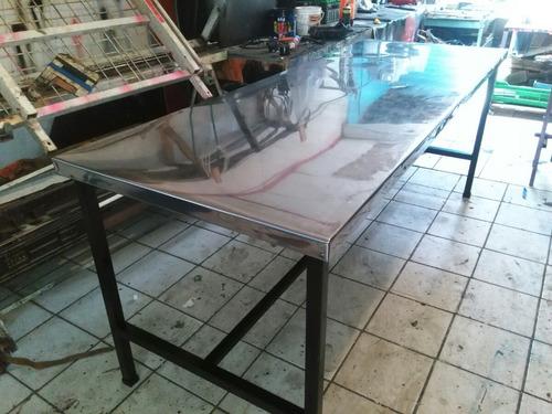 mesa acero inoxidable para trabajo grande 2,30 x 85 cod t111