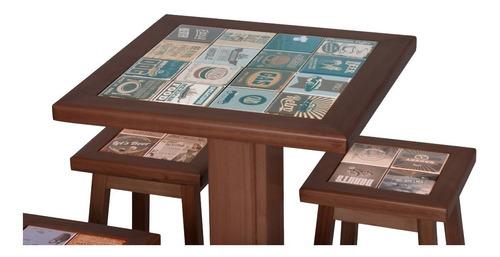 mesa alta para bar com 3 banquetas em madeira cor cappuccino