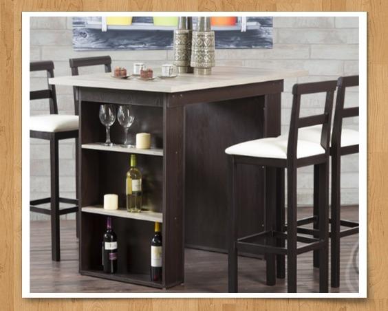 Mesa alta tipo barra 4 sillas somos fabrica bs for Comedor tipo barra