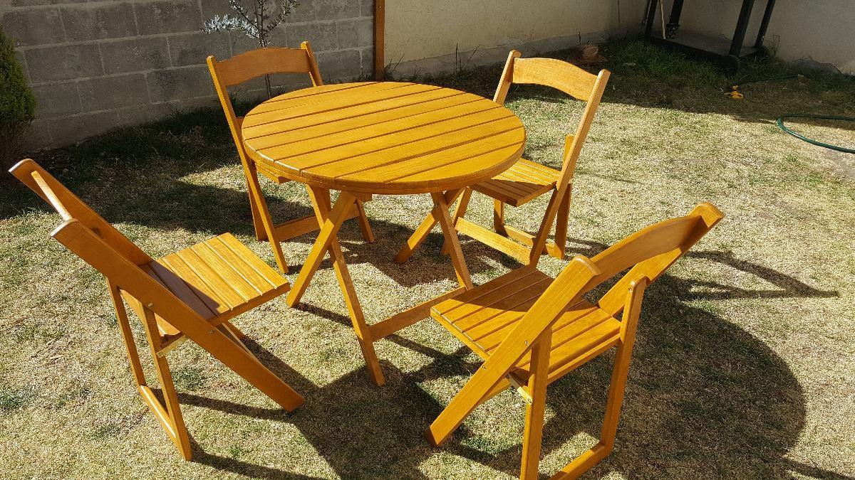 Mesa antecomedor de madera para jardin plegable con 4 - Sillas madera jardin ...