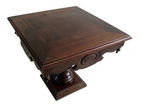 mesa antiga baixa quadrada em imbuia ótimo estado