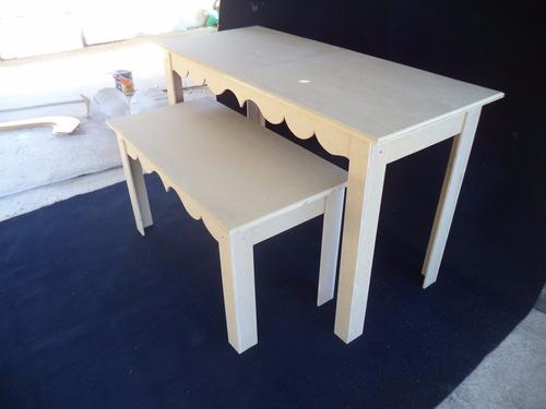 mesa+aparador provençal mdf crú desmontavel arabesco k1g
