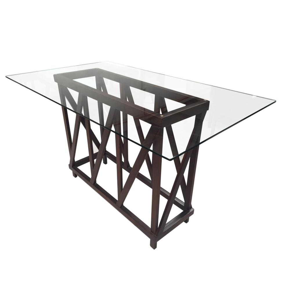 Mesa aquiles 6 personas tabaco con tablero de cristal for Mesa cristal 4 personas