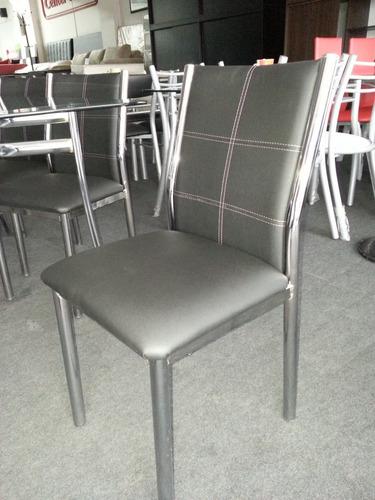 mesa argos 1.60 x 0.80 + 6 sillas sofia / caño cromado