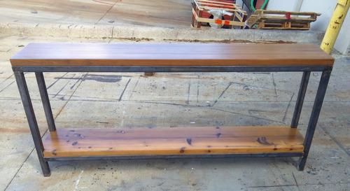 mesa arrime doble consola industrial estante rústica hierro