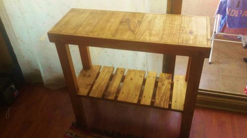 mesa arrimo de madera 80x35x80