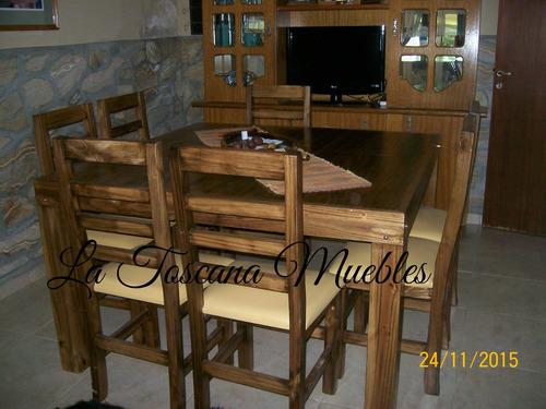 mesa asia (1.30x1.30) + 8 sillas con asientos tapizados
