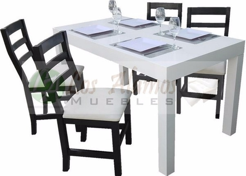 mesa asia 1.40x0.80 + 4 sillas anatomica tapizada los alamos