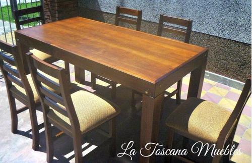 mesa asia (1.60x0.80) + 6 sillas tapizado ecocuero