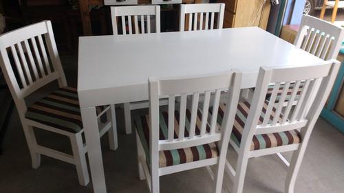 mesa asia blanca laqueada moderna 1.40mt 6 sillas tapizadas