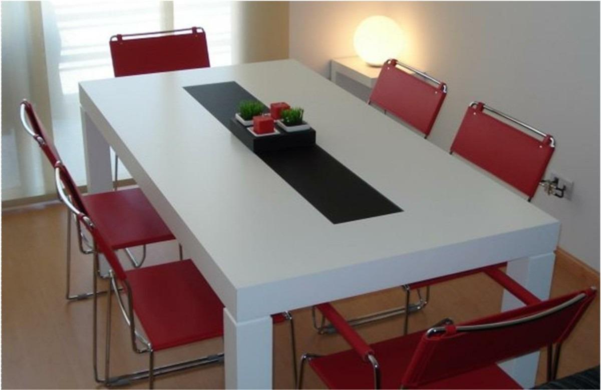 Mesa asia laqueada comedor madera con vidrio 140 x 80 cm for Mesas de cristal y madera para comedor