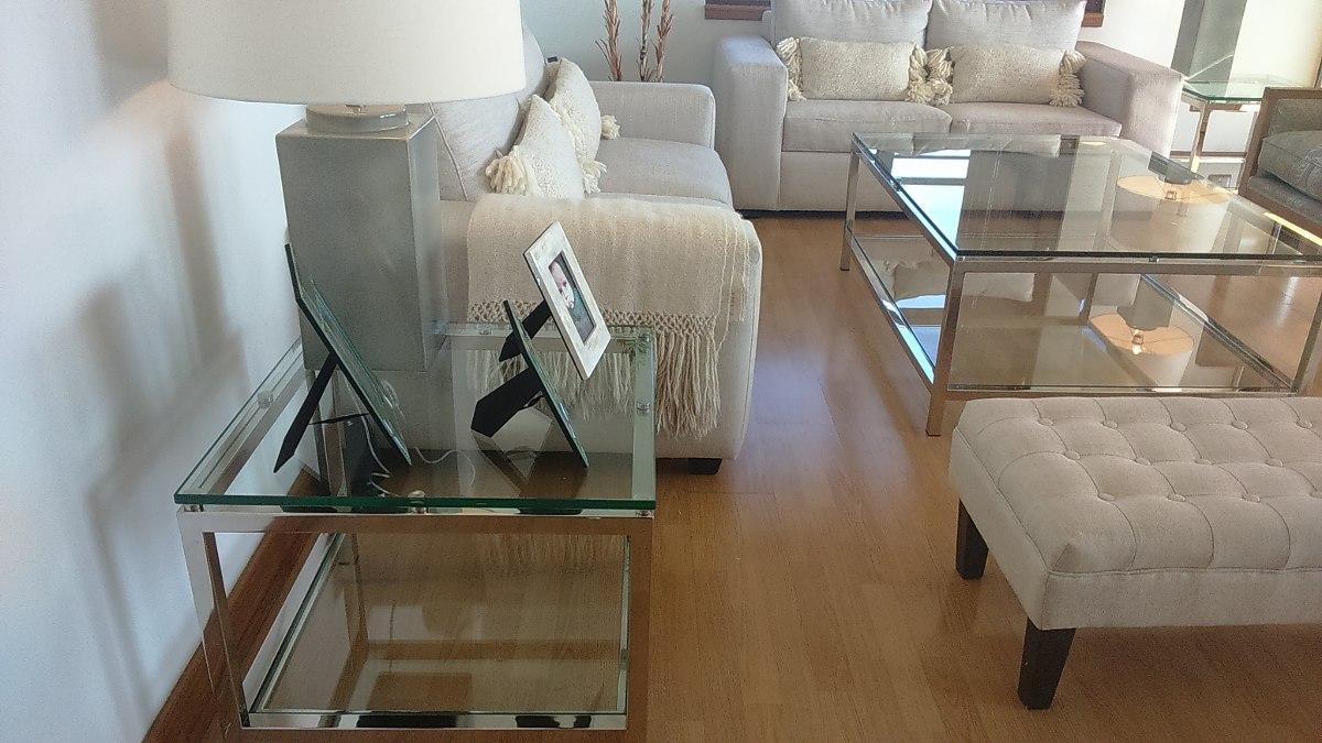 Mesa auxiliar acero inoxidable brillo espejo 60x60x50 for Espejos para mesa
