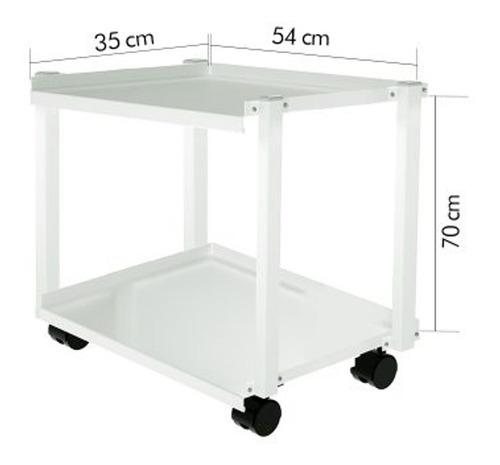 mesa auxiliar agir aço carbono rodizios 2 bandejas
