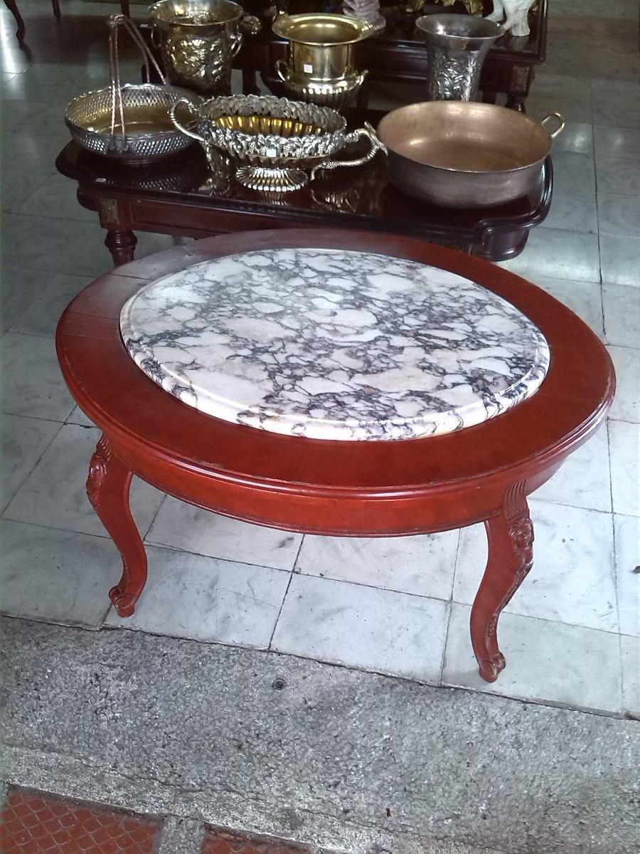 Mesa auxiliar antigua en madera tallada con marmol 450 - Mesas auxiliares antiguas ...