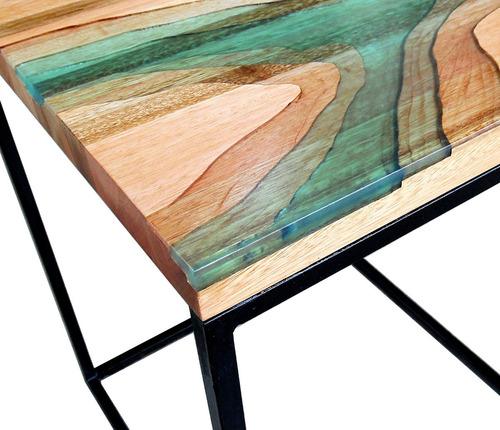 mesa auxiliar cauce - resina madera hierro industrial
