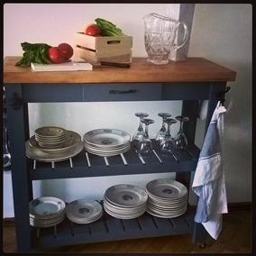 Mesa Auxiliar Cocina Barra Con Acc Hierro Y Ruedas